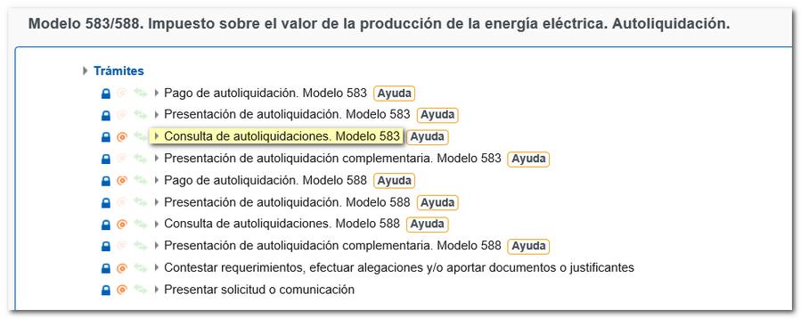 enlace al trámite de consulta del modelo 583