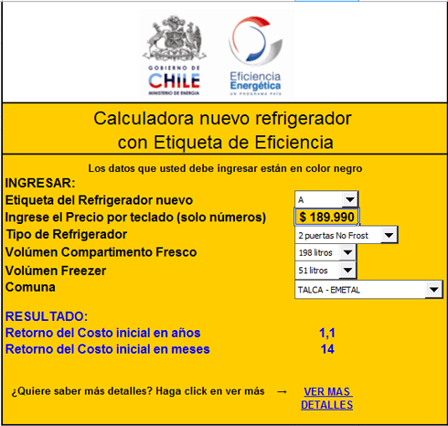 Calculadora de eficiencia energética en refrigeradores