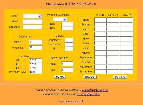 Calendario Ujaen.Intercalensof 1 0 Para La Simulacion De Sistemas Fotovoltaicos