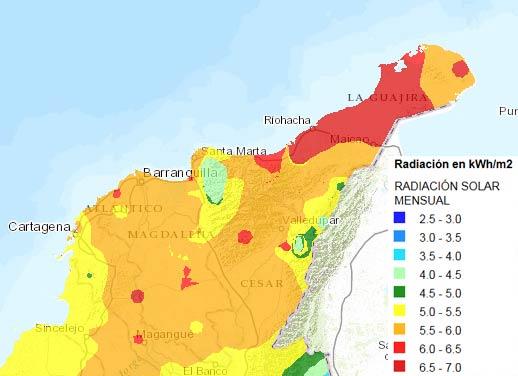 Radiación Solar norte de Colombia